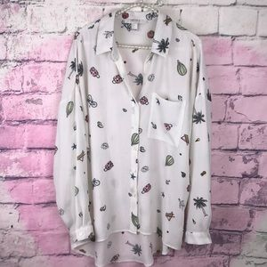 Forever 21 White button down vacation print shirt